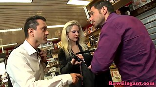 Glamorous Babe Getting Doublepenetrated in a Store Room