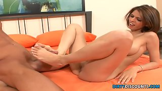 Sexy Mature Lady Gives Footjob to Big Cock And Pussy Drilled