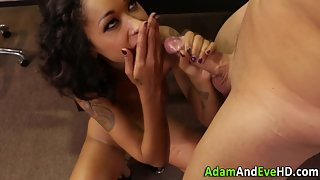 Tattooed Ebony Babe Gets Pussy Pounded and Spunked in Office