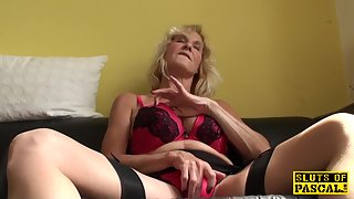 Blonde Granny Fingering and Masturbating by Huge Dildo