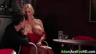 Blonde Milf Gives A Boobjob To Big Cock Until Gets Out of Warm Cum