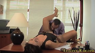 Glamour European Chick with Stockings Fucks and Sucks Big Cock in Office