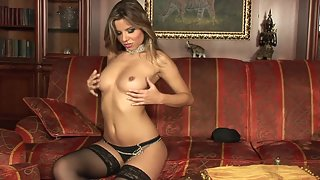 Brunette in Black Stockings Rub and Dildo Drilled Shaved Muff