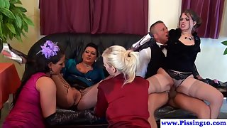 Dazzling Babes Sucking and Fucking Cock in the Group
