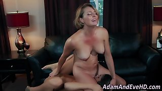 Busty Blonde Mom Enjoys Deep Licking in Mouth Sitting Position