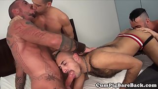 Handsome Sodomite in Foursome Gets Anal Drilled and Rimmed