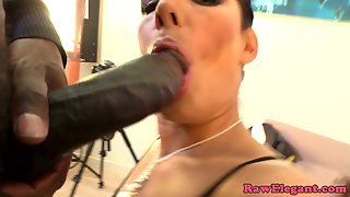 Thick Black Rod Drills Hungry Tight Fanny after Blowjob