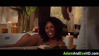 Curly Haired Ebony Babe Gets Licked and Doggy Style Fucked by a White Dong