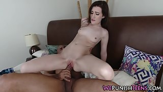 Skinny brunette riding on hard cock and pussy filled with semen