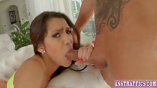 Horny Busty Babe Gets Hammered Hard in a Trio Activity