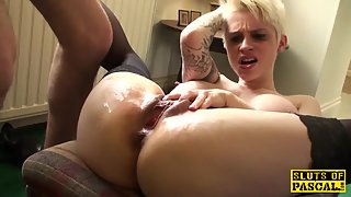 Tattooed Blonde MILF Banged And Masturbate in Loud Moaning