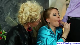 Horny Blonde Females Lick Each Other and Get Banged by Handsome Dude
