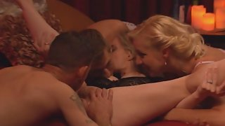 Naked Babes Shaved Muff Gets Eat then Banged by Hard Dick Partner