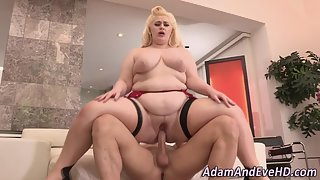 Horny Blonde BBW Gobbles Dick and Gets Riding Way Smashed