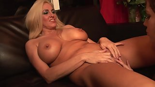 Busty blonde babe gets her pussy fingerd