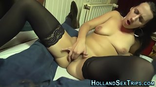 Stocking Wearing Chick on Cam Enjoyed Finger Poke