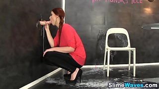 Brown Haired Ponytail Babe Sucks a Huge Gloryhole Cock in Horny Mood