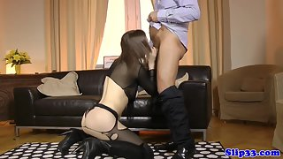 Black Stocking Wore Rides on Massive Cock after Sucking