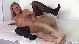 Stocking Wore Blonde Hooker Blows and Gets Rammed in Various Positions