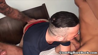 Muscular Dude in Foursome Gets Rimmed and Anal Drilled in POV