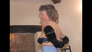 Black Dress Wore MILF Striptease and Masturbating on the Couch