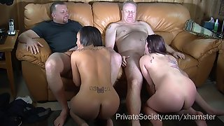 Fatty Two Horny Lady Rubs Their Cunts and Gives Blowjob to Partners