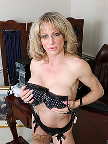 Busty Blonde MILF Striptease and Posing With Black Bikini and Glasses