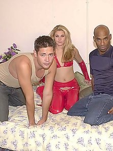 Hot babe in red joins two bi studs screwing
