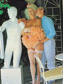 Mature retro lady in stockings gets fucked by a younger guy