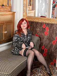 Red Haired Babe Madly Strips Dress for Showing Her Bikini Body in Horny Mood