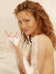 Redhead Girl Washed Her Naked Body in Bathroom