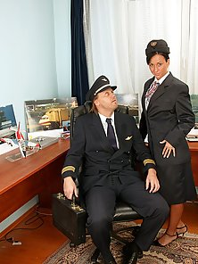 Pilot enjoys pounding a tight but sexy stewardess asshole