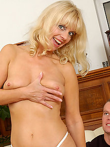 Playful milf sex kitten merilyn gently licks the balls and sucks the cock before getting pumped by i