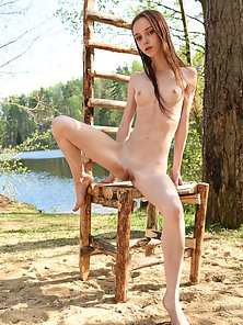 Red Head Skinny Girl Displays Her Tight Pussy at Outdoor