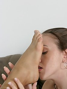 Horny Brunette Licking Off and Sucking Girlfriend's Toe
