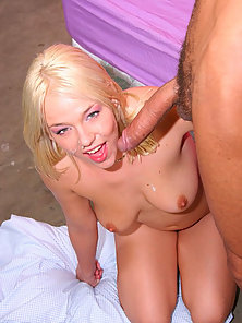 Blonde slut gets slammed by a huge cock before a load explodes on her face