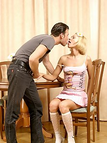 Petite Blonde Chick Enjoying Passionate Kissing and Hardcore Drilling Action