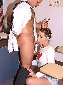 Innocent looking pigtailed schoolgirl gets her hole filled with a huge