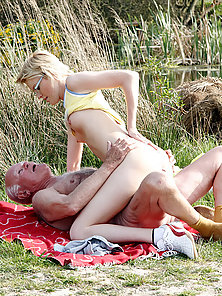 Charming Blonde Babe Fucked Hard In Outdoor With Her Grandpa