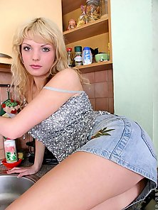 Stunning lovely hot teen lera gets naked and posing in kitchen and get
