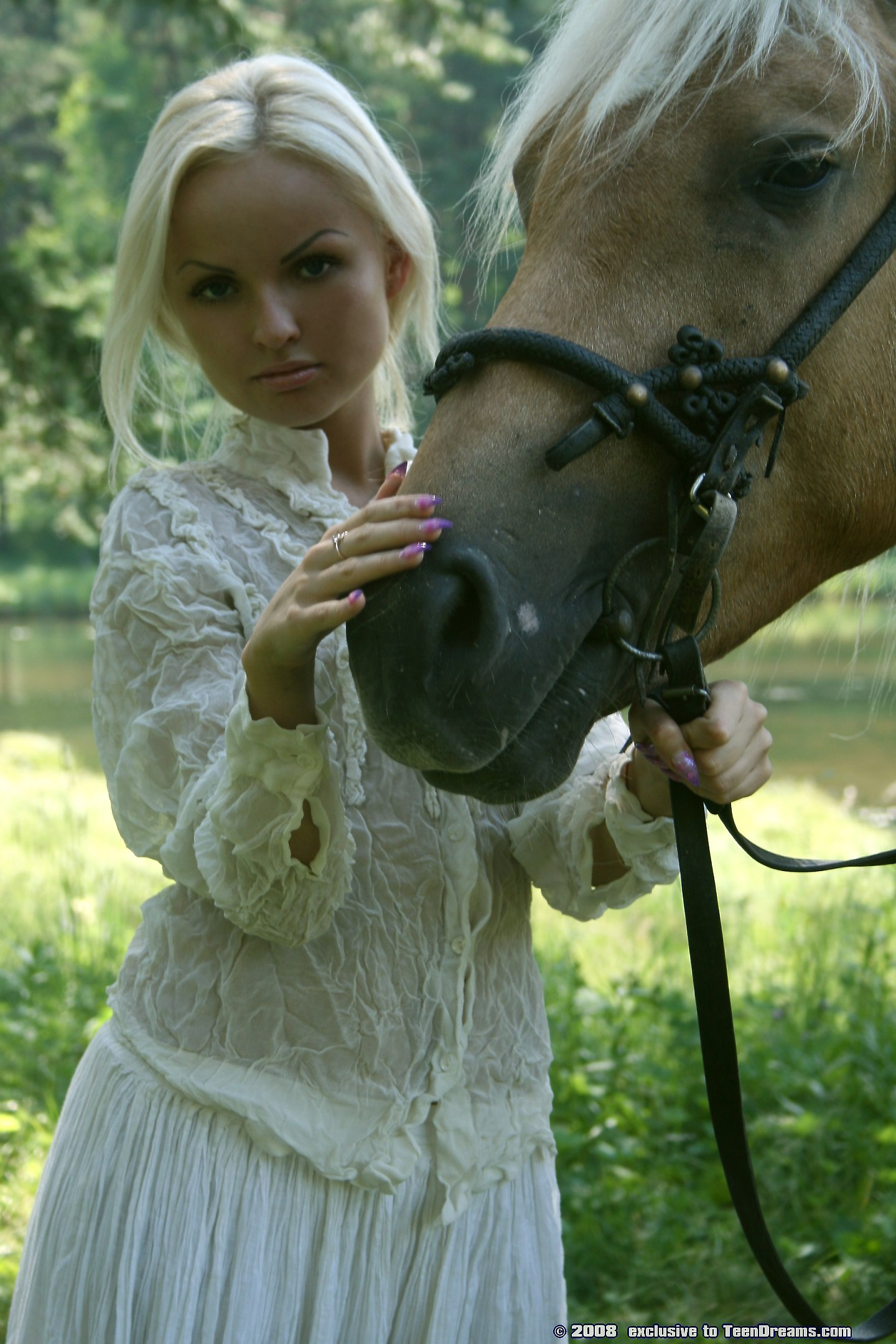 On beautiful horse girl riding nude
