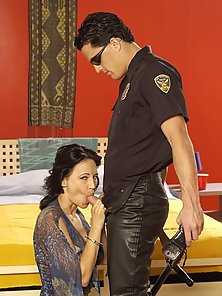 Gorgeous brunette taking on cop