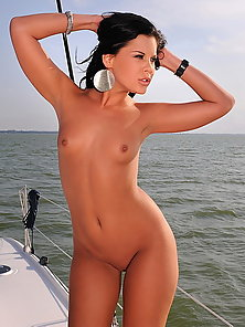 Teen lesbian bitches having horny sex on a boat
