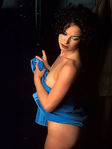 Babe on a Blue Towel Peeking Her Nice Pussy