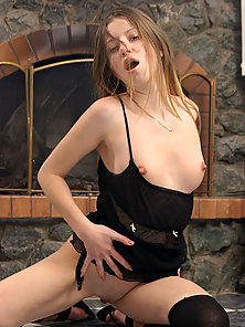 Naughty girlfriend beside the furnace strips off her sheer top and tho