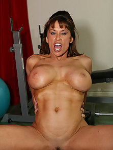 Big titted milf gets her pussy worked out in the gym