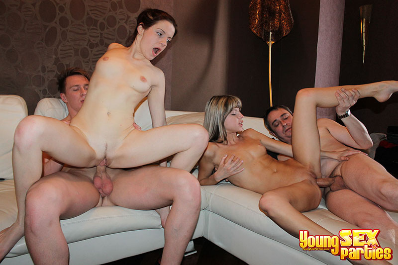 Mouths and pussies of two pretty chicks stuffed by dicks