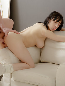 Round Tits Brunette Teen Chick Enjoying Thrilling Licking and Fucking Action