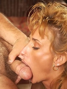 mature blonde eating hairy cock and swallowing cum