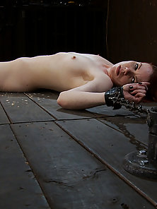 Lifestyle girl chained down spread. Tickled so hard and made to cum so many times, she breaks down i